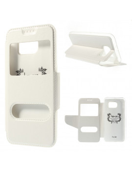 Cover Flip S-View Doppia Finestra in Ecopelle per Samsung Galaxy S6 G920 (Bianco)