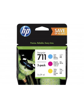 Multipack Cartucce Originali HP P2V32A 711 (Ciano, Magenta Giallo 29 ml Conf. 3)