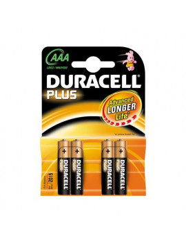 Pile Duracell Plus - Ministilo AAA - 1,5 V (Conf. 4)