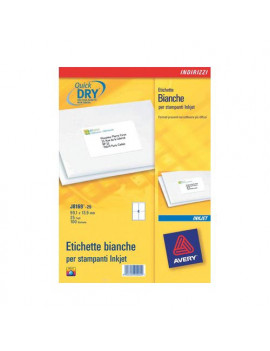 Etichette Adesive QuickDry Avery - A4 - 63,5x46,6 mm - J8161-25 (Bianco Conf. 25)