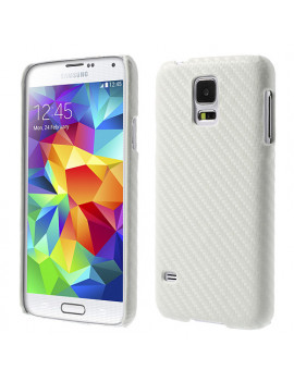Cover Carbon Look per Samsung Galaxy S5 G900 (Bianco)