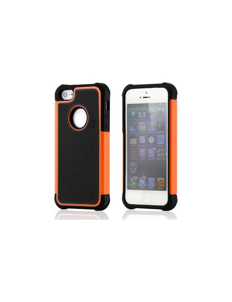 Cover Hybrid Silicone Rigido Morbido iPhone 5 / 5S Arancione/Nero Offerta Offerte Sconto Sconti