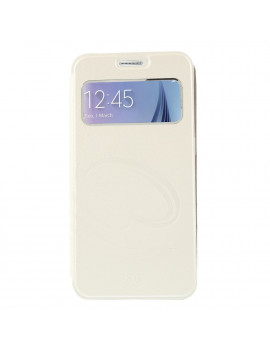 Cover Flip S-View Curve Line in Ecopelle per Samsung Galaxy S6 G920 (Bianco)
