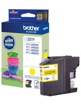 Cartuccia Originale Brother LC-221Y (Giallo 260 pagine)