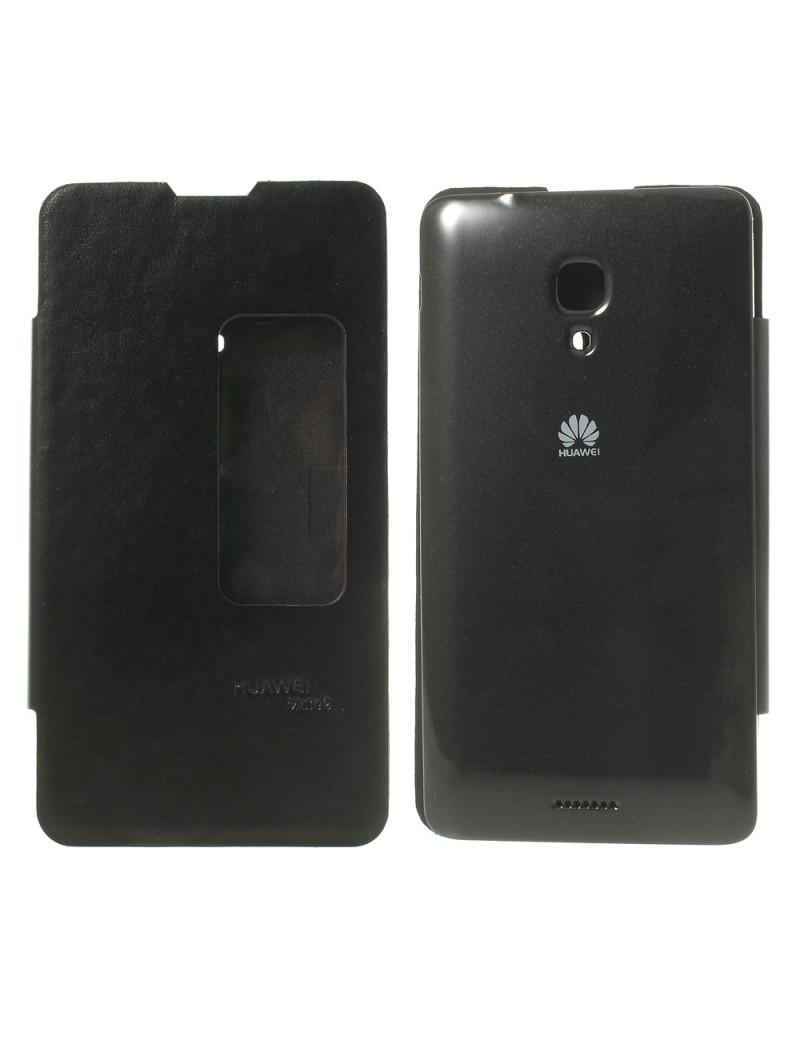 Cover a Portafoglio Slim S-View per Huawei Ascend Mate2 4G (Nero)