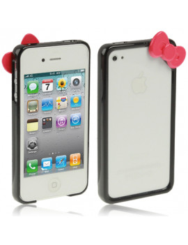 Bumper in Silicone Hello Kitty per iPhone 4 4S (Nero)