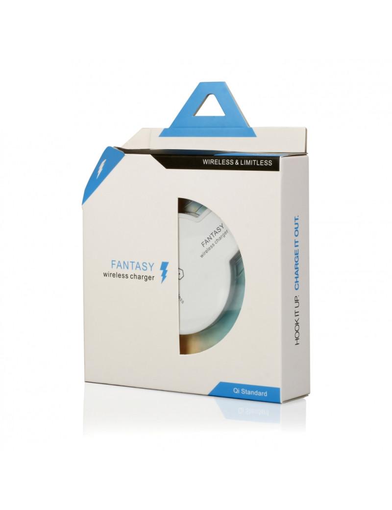Caricatore Wireless ad Induzione - Standard QI - 1A - Indicatore LED Blu (Bianco e Trasparente)