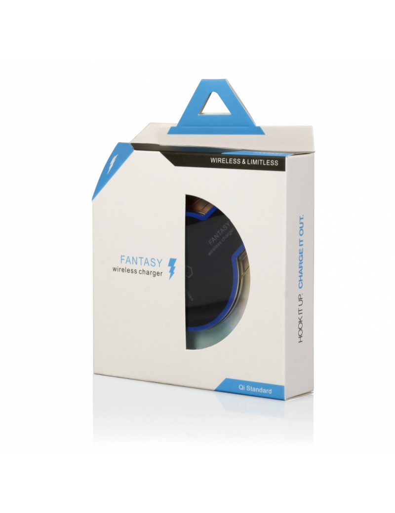Caricatore Wireless ad Induzione - Standard QI - 1A - Indicatore LED Blu (Nero e Trasparente)