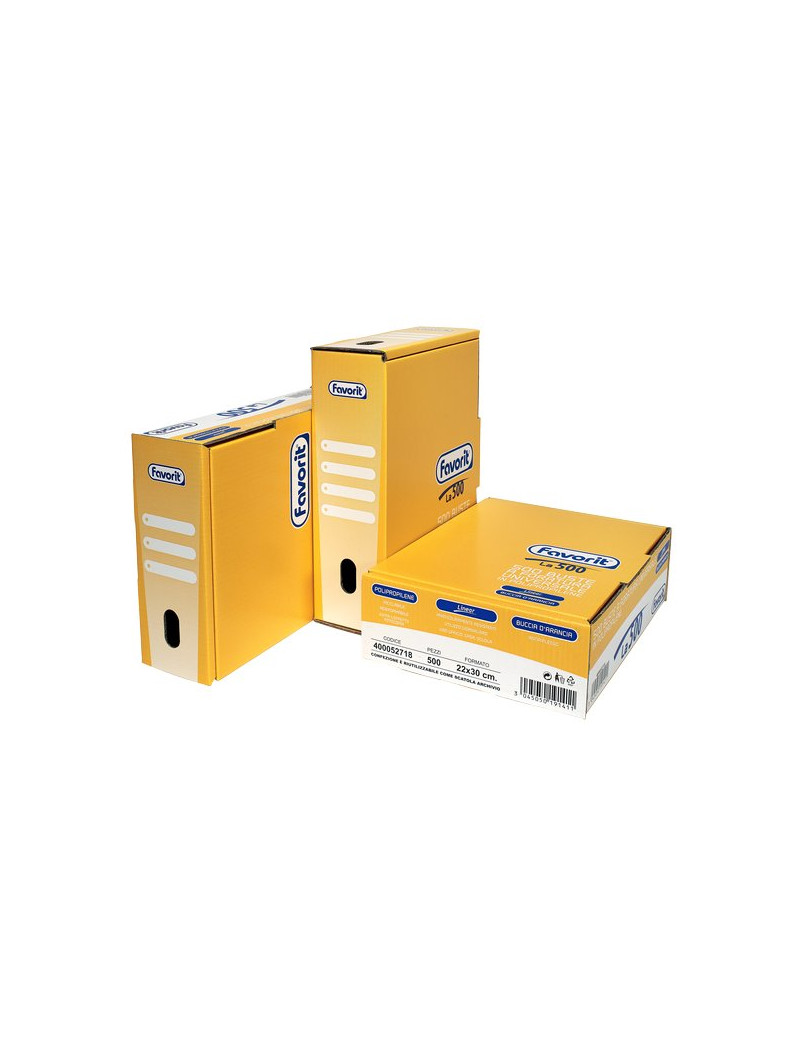 Busta a Perforazione Universale Favorit Linear - 22x30 cm - Goffrata Medio Spessore - 400052718 (Trasparente Conf. 500)