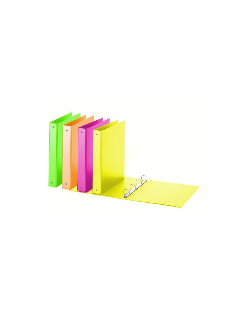 Raccoglitore ad Anelli Neon Favorit - 4 - 30 mm - 4 cm - Giallo Fluo
