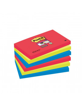 Post-it® Super Sticky Colori Bora Bora - 76x127 mm - Rosso, Verde Acqua (Conf. 6)