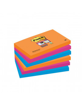Post-it® Super Sticky Colori Bangkok - 76x127 mm - Fluo: Arancio, Rosa, Azzurro (Conf. 6)