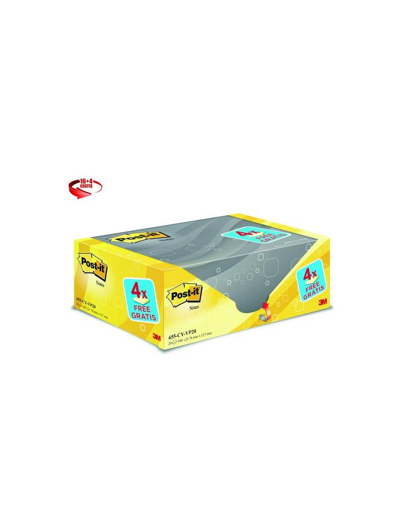 Foglietti Post-it® Notes Giallo Canary™ Value Pack - 76x127 mm (Conf. 16+4)