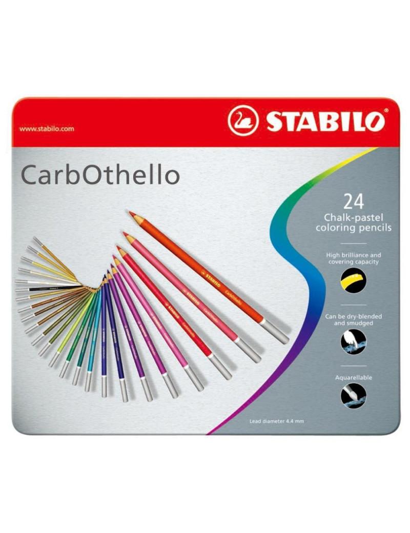 Scatola in Metallo Matite Colorate CarbOthello Stabilo (Conf. 24)