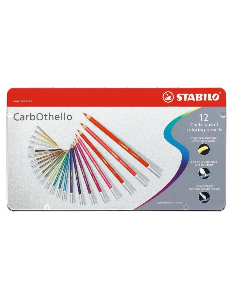 Scatola in Metallo Matite Colorate CarbOthello Stabilo (Conf. 12)