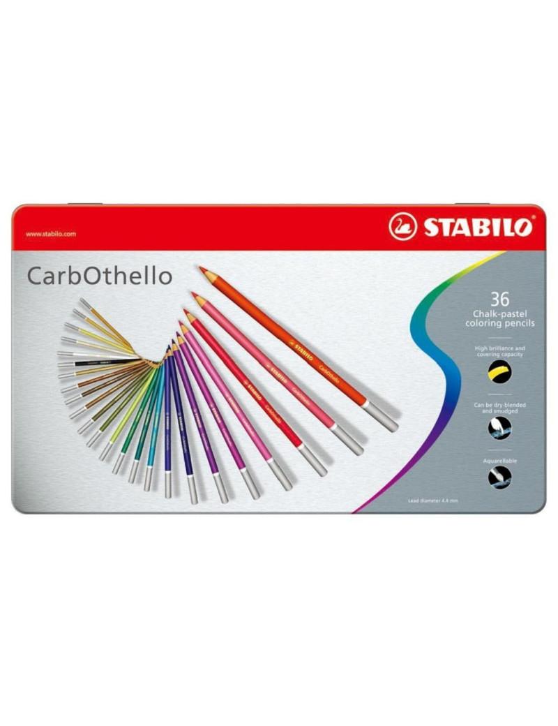 Scatola in Metallo Matite Colorate CarbOthello Stabilo (Conf. 36)