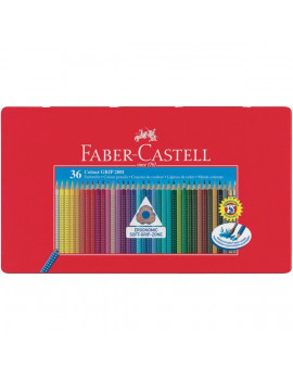 Matite Colorate Acquerellabili Colour Grip Faber Castell - Astuccio Metallo (Conf. 36)