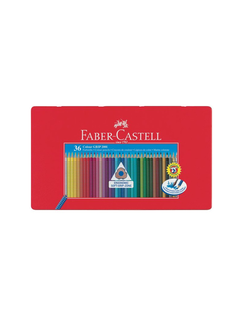 Matite Colorate Acquerellabili Colour Grip Faber Castell - Astuccio Metallo (Conf. 36)