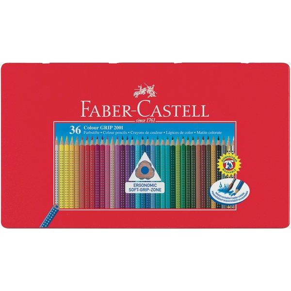 Matite-Colorate-Colour-Grip-Faber-Castell-Astuccio-Metallo-112435-Assortiti