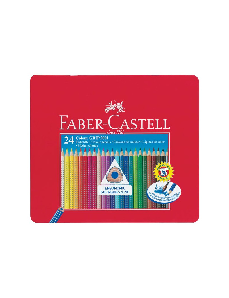Matite Colorate Acquerellabili Colour Grip Faber Castell - Astuccio Metallo (Conf. 24)