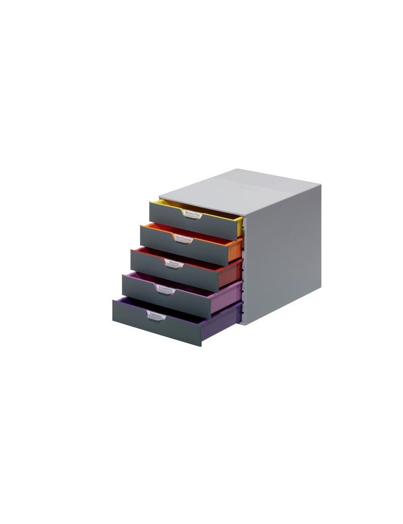 Cassettiera da Scrivania Varicolor Durable - 5 Cassetti - 5 cm - Grigio e Multicolore