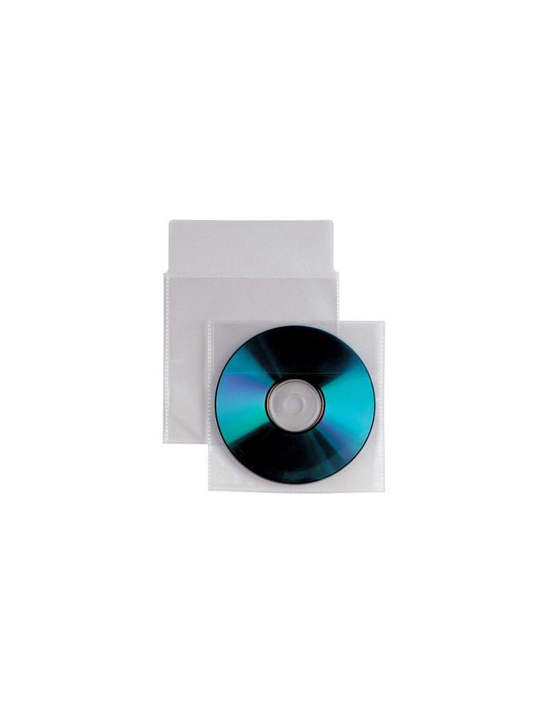Busta Trasparente Porta CD/DVD Insert Sei Rota - Con Patella e Striscia Adesiva sul Retro (Conf. 25)