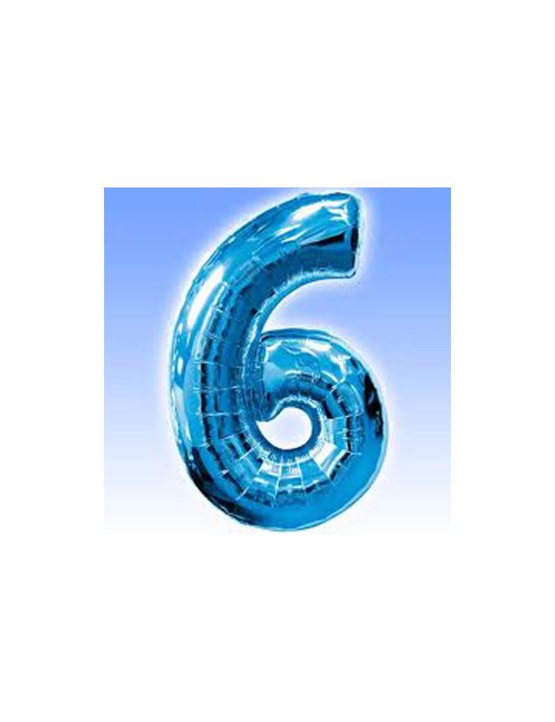Palloncino in Mylar - Numero 6 - Azzurro