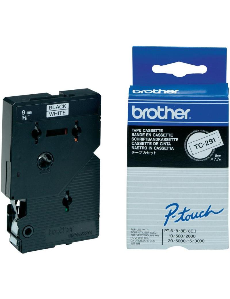 Nastro Originale Brother TC-291 (Nero/Bianco Laminato)