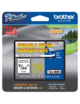 Nastro Originale Brother TZe-N201 - 3,5 mm - Nero/Bianco