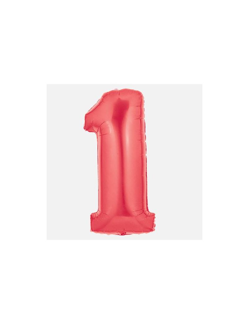 Palloncino in Mylar - 100 cm - Numero 1 - Rosso