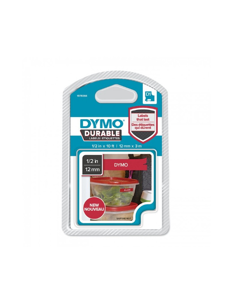 Etichette Dymo D1 Durable Dymo - 12 mm x 3 m - Bianco/Rosso