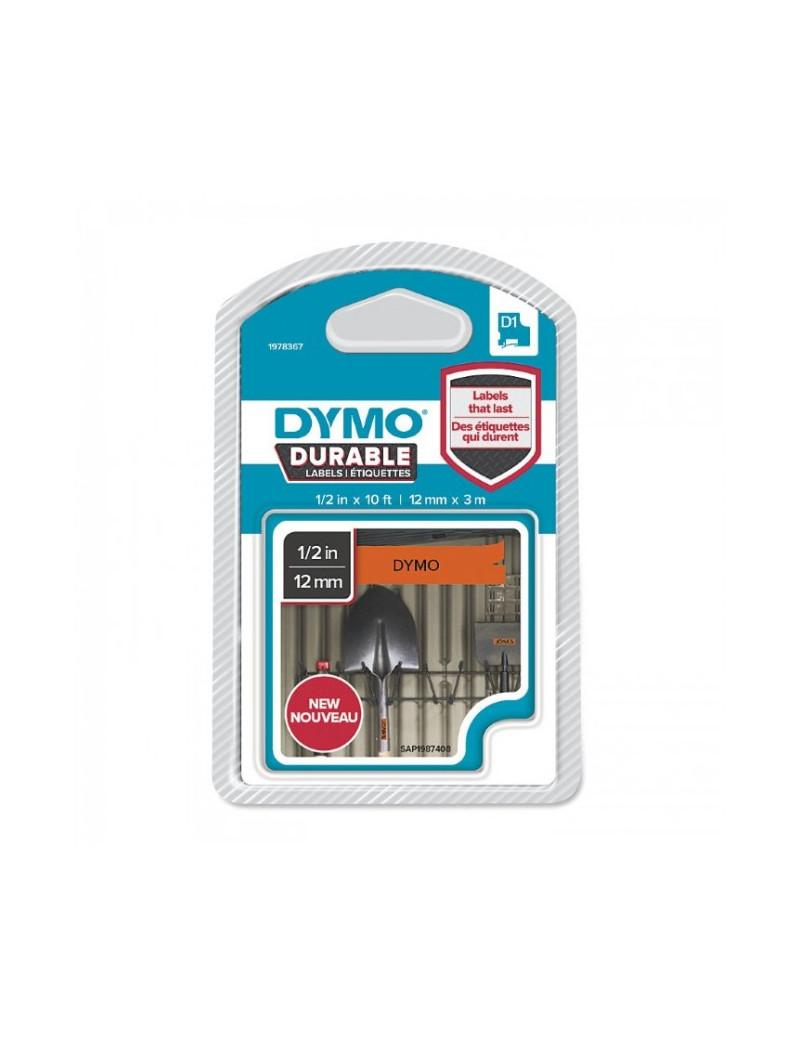 Etichette Dymo D1 Durable - 12 mm x 3 m - Nero su Arancione