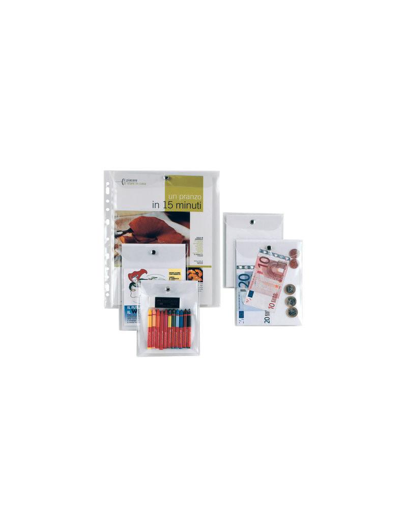 Busta con Bottone in Metallo Press 6E Sei Rota - 15x21 cm - 441521 (Trasparente)