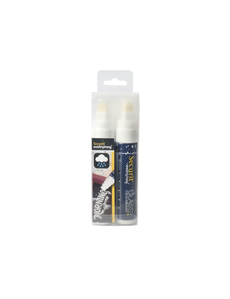 Pennarelli a Gesso Liquido Waterproof Securit - 7-15 mm - Bianco (Conf. 2)