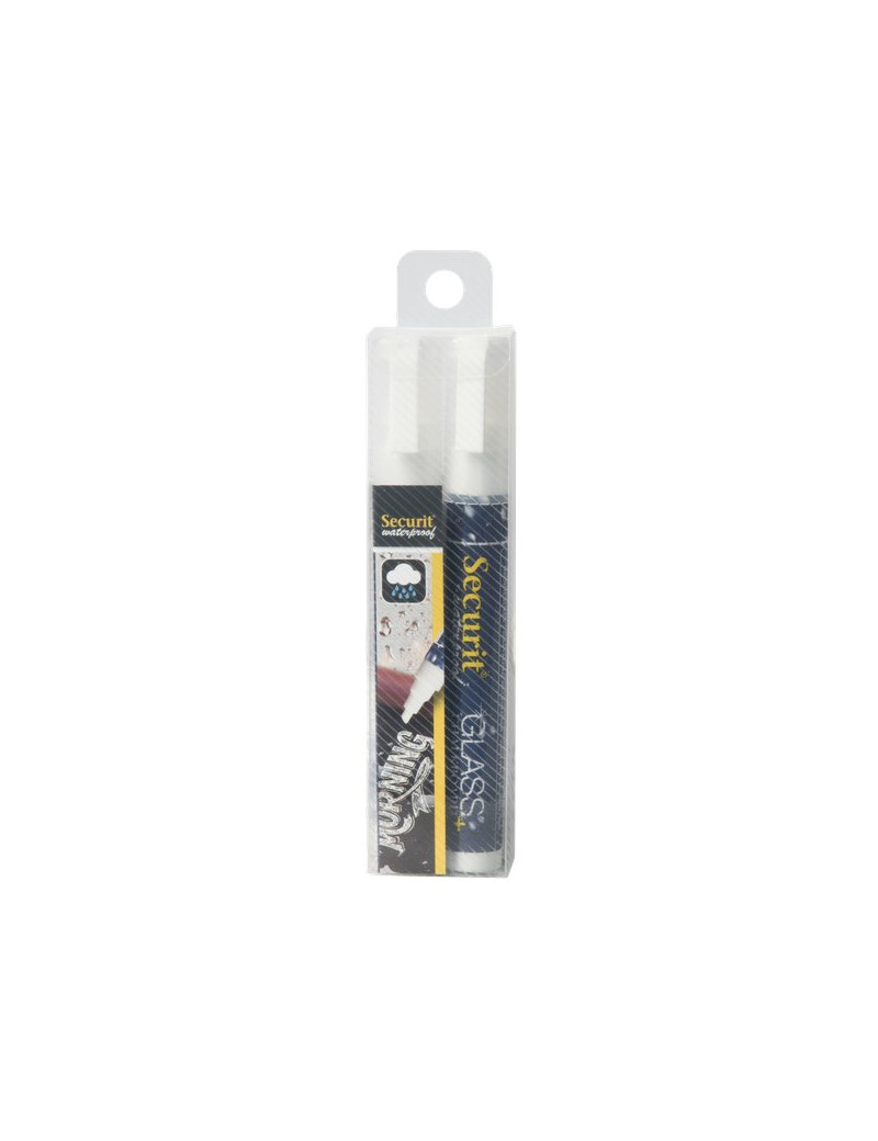 Pennarelli a Gesso Liquido Waterproof Securit - 2-6 mm - Bianco (Conf. 2)