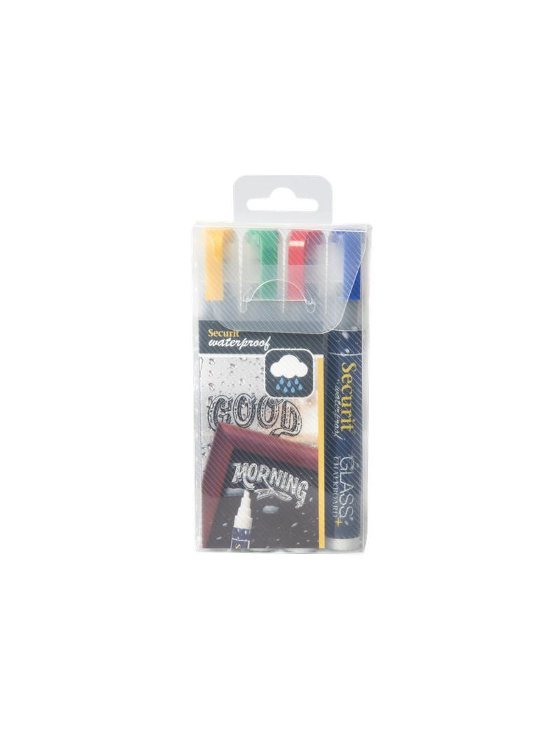 Pennarelli a Gesso Liquido Waterproof Securit - 2-6 mm - Blu, Rosso, Verde, Giallo