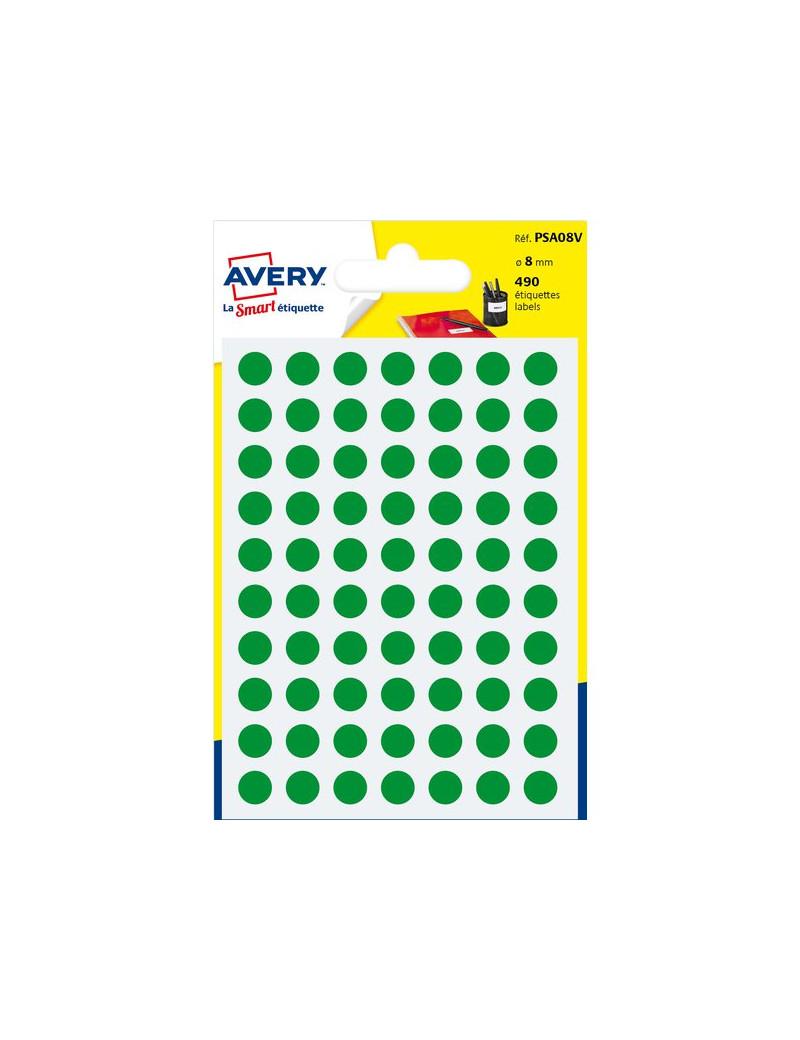 Etichette Rotonde in Bustina Avery - Verde - Ø 8 mm (Conf. 6)