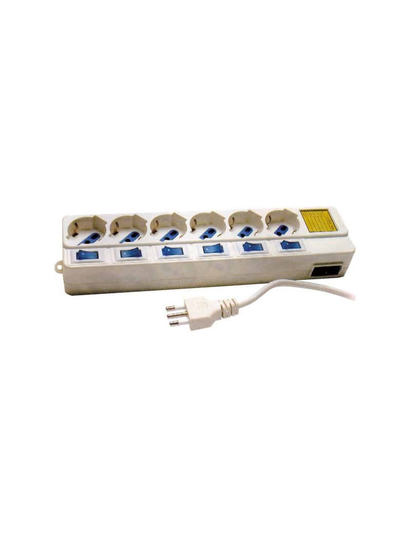 Prese Multiple MKC - Con Interruttori Singoli - 6 (Schuko-Bipasso 10A/16A) - Bianco