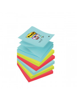 Ricariche Post-it Super Sticky Z-Notes - 76x76 mm - Acqua, Verde, Rosso (Conf. 6)