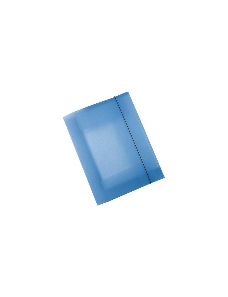 Cartella 3 Lembi con Elastico Eko Leonardi - 25x35 cm - U110-TB (Blu Trasparente Conf. 10)