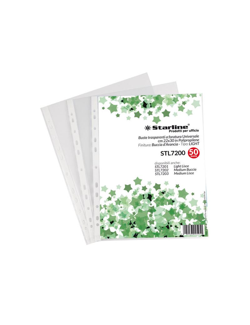 Busta a Perforazione Universale Starline - 22x30 cm - Liscia Medio Spessore (Trasparente Conf. 50)