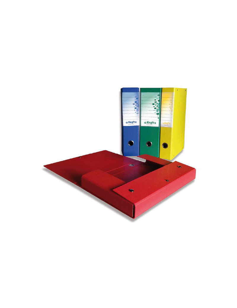 Scatola Progetto KingPro Starline - Dorso 4 - 25x35 cm - con Porta Etichette - Rosso