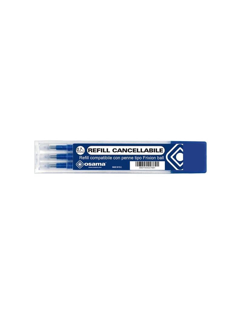 Refill per Penna a Sfera Cancellabile Osama - 0,7 mm - Blu (Conf. 3)