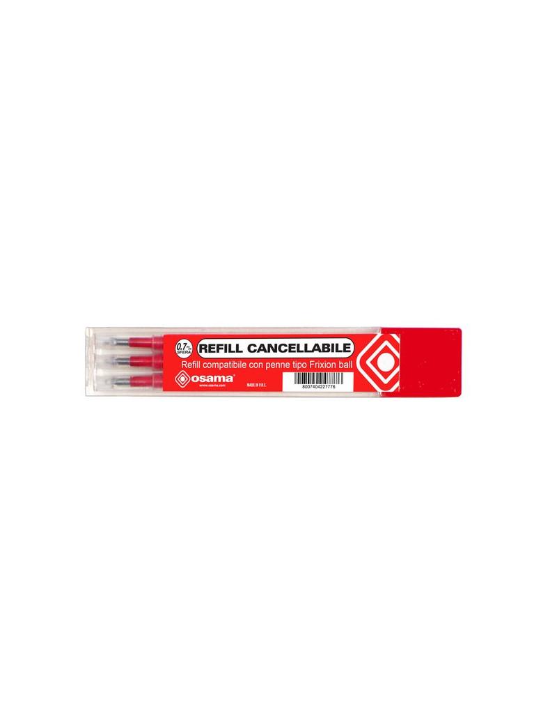 Refill per Penna a Sfera Cancellabile Osama - 0,7 mm - Rosso (Conf. 3)