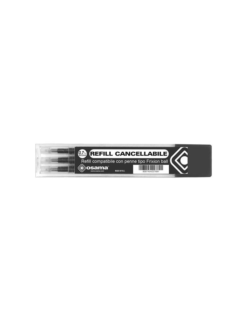 Refill per Penna a Sfera Cancellabile Osama - 0,7 mm - Nero (Conf. 3)