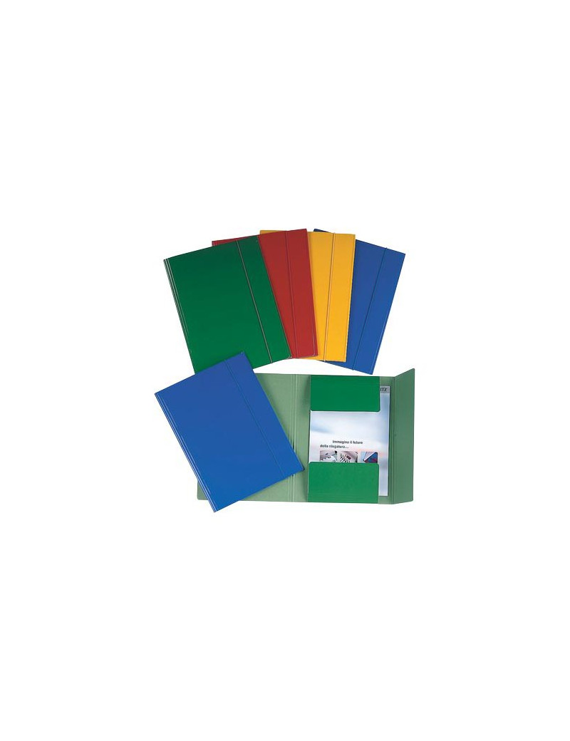 Cartella 3 Lembi con Elastico Esselte - Dorso 1,5 - 25x35 cm - 550 g - 390346180 (Verde Conf. 5)