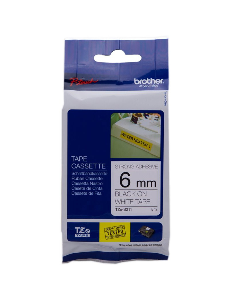 Nastro Originale Brother TZe-S211 - 6 mm x 8 m - Nero su Bianco