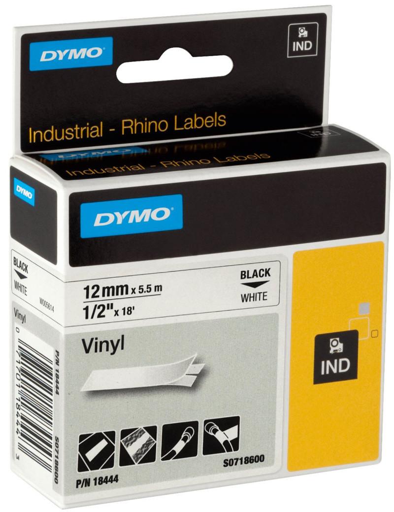 Nastro Originale Dymo S0718600 - 18444 - 12 mm x 5,5 m - Vinile - Nero su Bianco