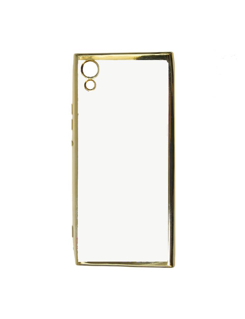 Cover in Silicone Electro Jelly per Sony Xperia XA1 (Trasparente e Oro)