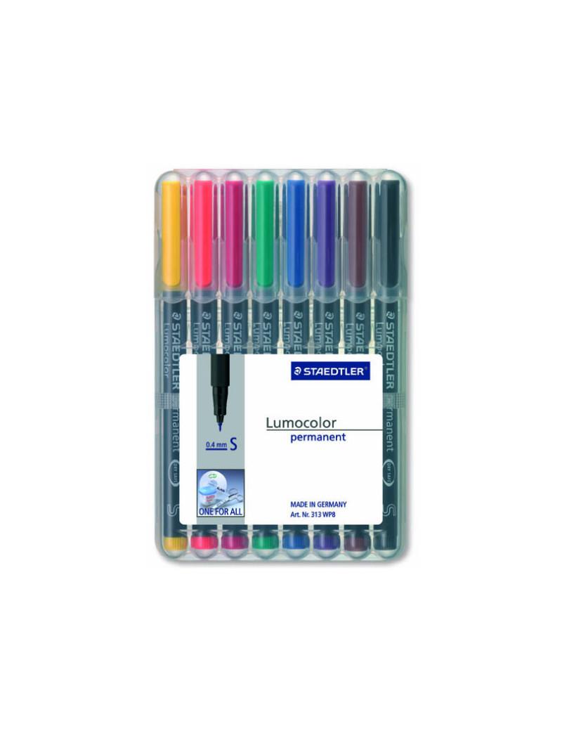Penna a Punta Sintetica Lumocolor Permanent Staedtler - Punta Superfine - 0,4 mm (Assortiti Conf. 8)